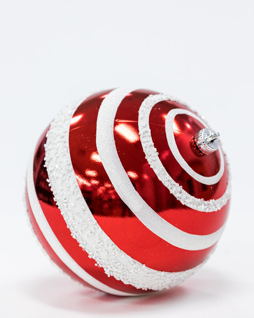 "8"" Red/White Peppermint Ball"