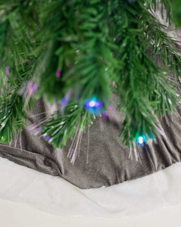 "48"" Pewter/White Tree Skirt - Metallic Collection"
