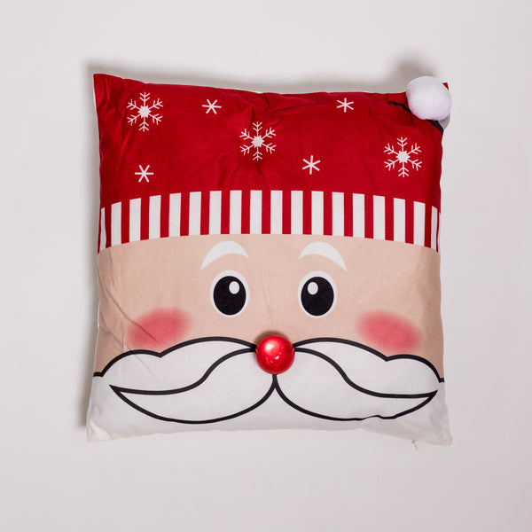 "18"" x 18"" Happy Santa Pillow w/ LED Flashing Light"