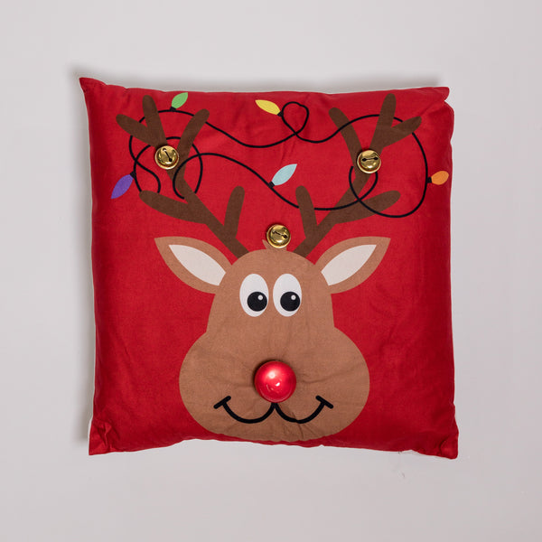 "18"" x 18"" Rudolph the Red Nosed Reindeer Pillow w/ LED Flashing Light"