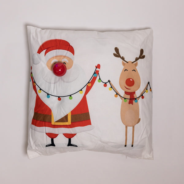 "18"" x 18"" Santa & Reindeer Pillow w/ LED Flashing Light"