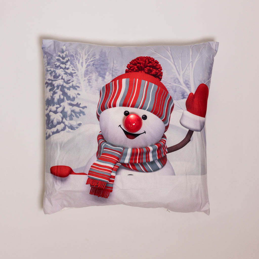 "18"" x 18"" Frosty the Snowman Pillow w/ LED Flashing Light"
