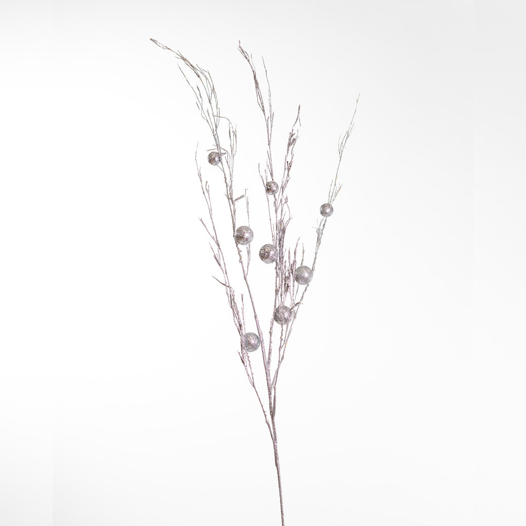 "39"" Glittered Grass Spray - Silver"