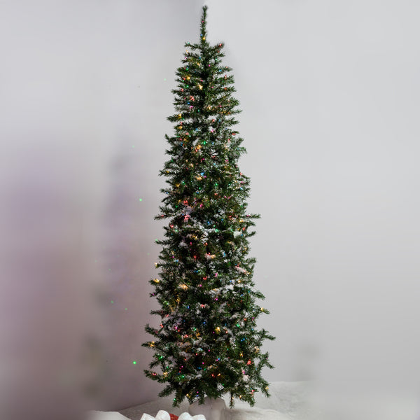 9' Christmas Pencil Tree with 650 Multi Color lights