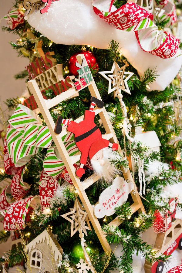 "Wooden Santa in Ladder Decor 24"" - Noël Collection"