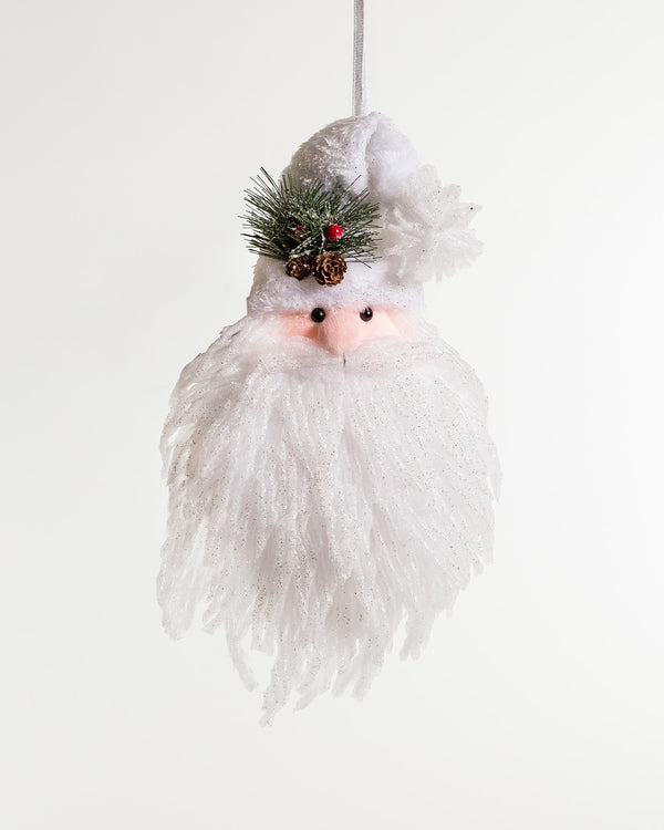 "19"" Iridescent White Santa head w/hanger"
