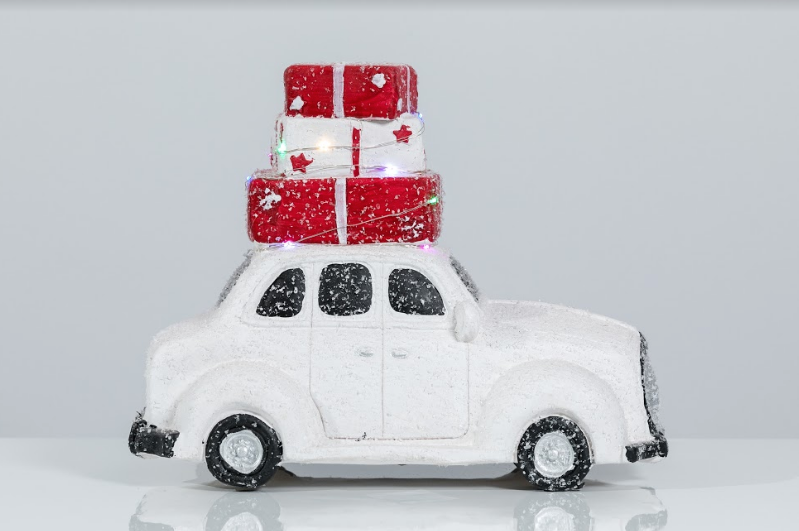 "14"" White Terracota Car with Tree - Voiture Collection"