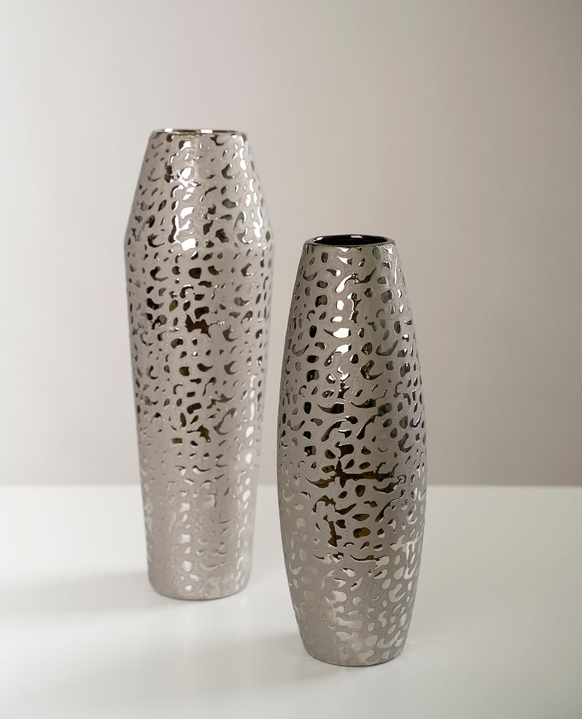 "13"" Silver Long Vase - Piscitelli Collection"