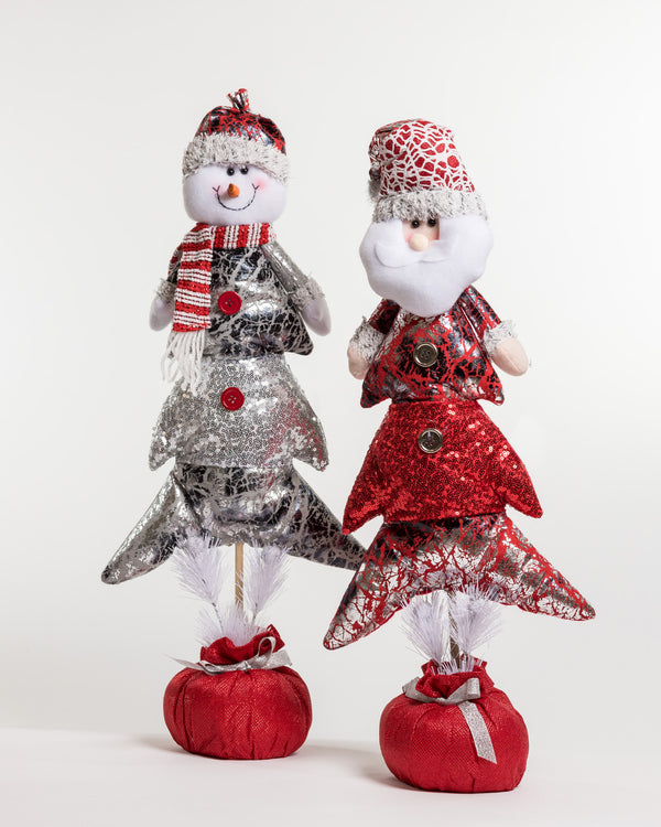 "28"" Red/Silver Santa in Xmas Tree Décor - Metallic Collection"