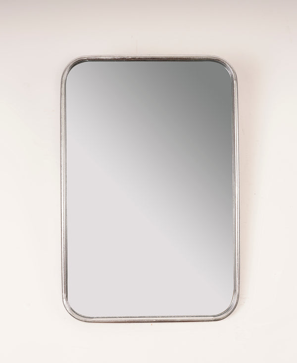 Silver Rounded Rectangle Mirror - Metalle Collection