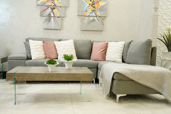 Daniele Sectional Right Side Sofa -Gray