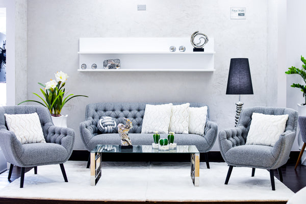 Hannah Sofa & 2 Armchair Set- Smoke Gray Set