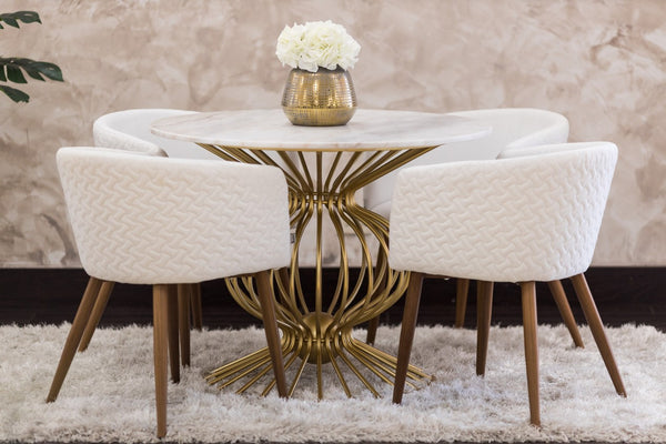 Silhouette Gold/White Marble Table- Metalle Collection