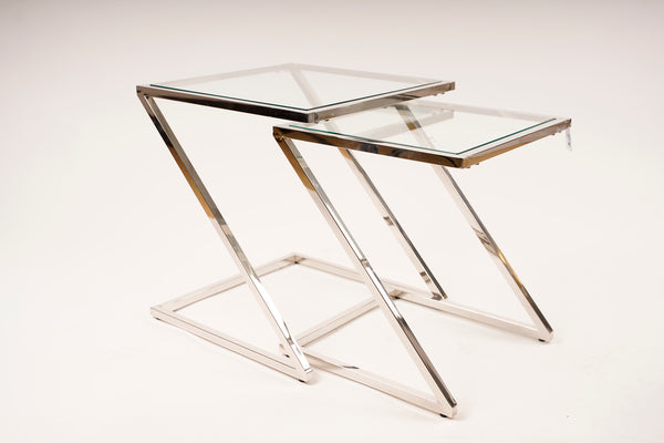 End Table Set Clear Glass - Gemma Collection