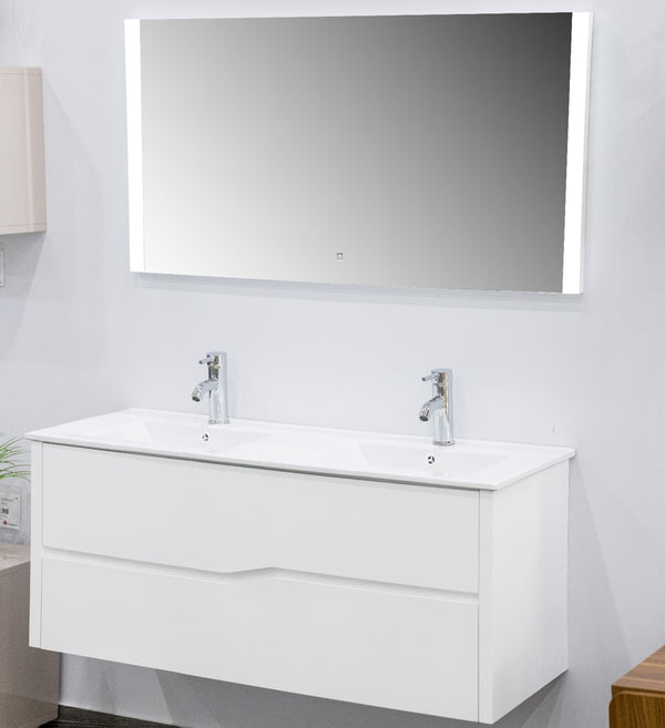 "Phoebe Double Faucet Cabinet w/mirror & fittings 47"" -Nouveau Collection"