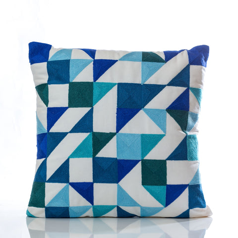 "Embroidery Pillow - Blue Tones 18"" x 18"" - Casa Febus - Home • Design"