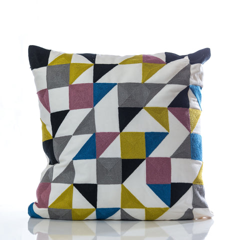 "Embroidery Pillow - Gray/Blue/Gold 18"" x 18"" - Casa Febus - Home • Design"
