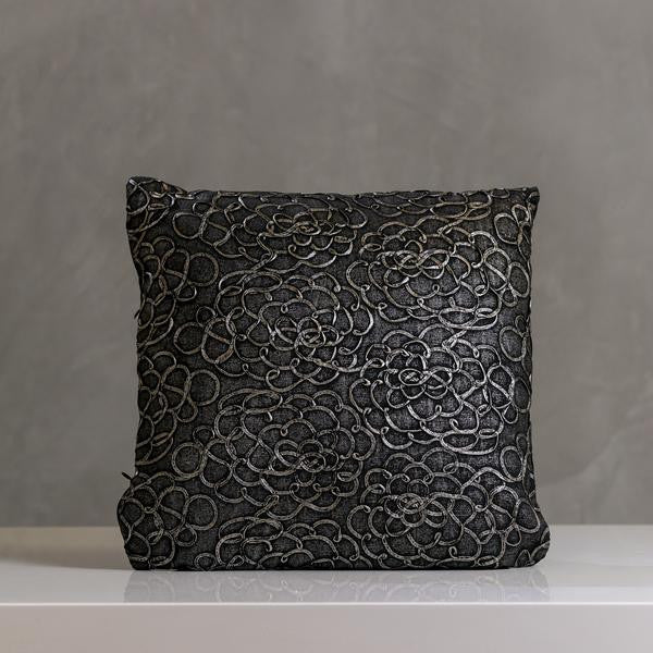 "Festive Flowers Pillow 16""x16"" Charcoal - Casa Febus - Home • Design"