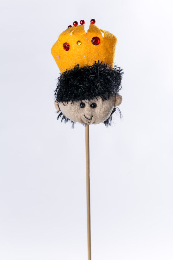 """Gaspar"" w yellow hat on wood stick - 3"" - Casa Febus - Home • Design"