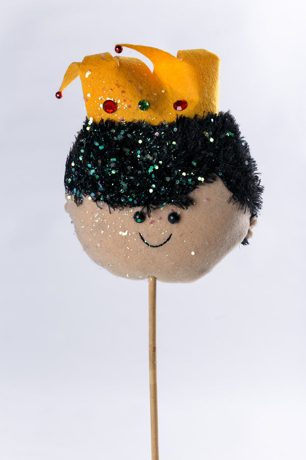 """Gaspar"" w yellow hat on wood stick - 9"" - Casa Febus - Home • Design"