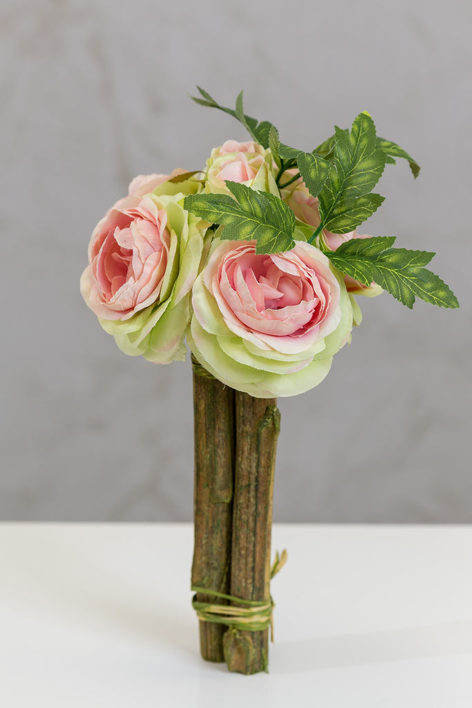 "12"" Modern Rose Bouquet Pink/Green - Casa Febus - Home • Design"
