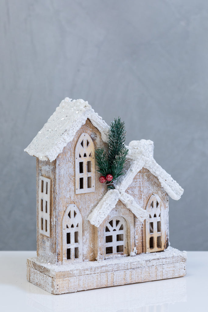 "10"" Wooden House - LED. Battery Operated"