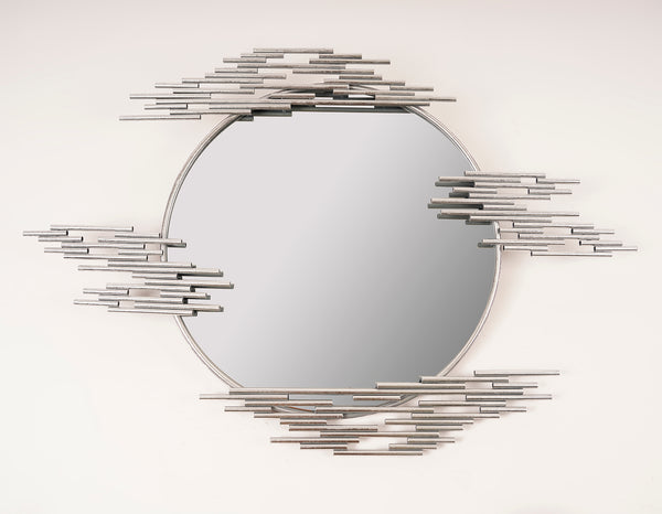 Silver Round Cascade Mirror - Metalle Collection