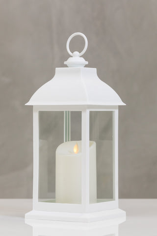 "12""H Bordeaux White Lantern w/ LED Candle - Wanderlust Collection"