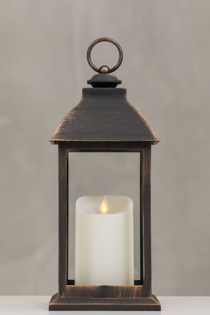"12""H Bordeaux Dk. Copper Lantern w/ LED Candle - Wanderlust Collection"