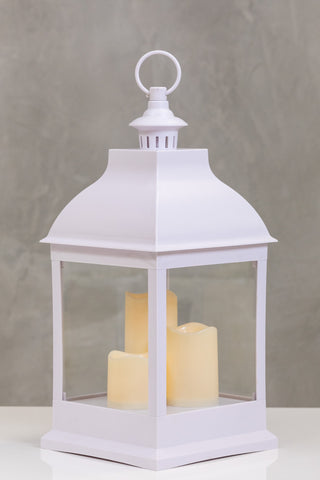"20""H Bordeaux White Lantern w/ Set of 3 LED Candles - Wanderlust Collection"