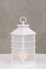 "13""H Kyoto White Lantern w/LED Candle - Wanderlust Collection"