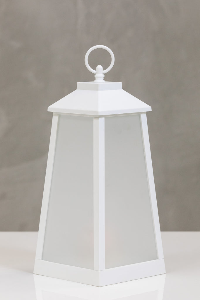 "13""H Nantes White Lantern w/LED Candle - Wanderlust Collection"