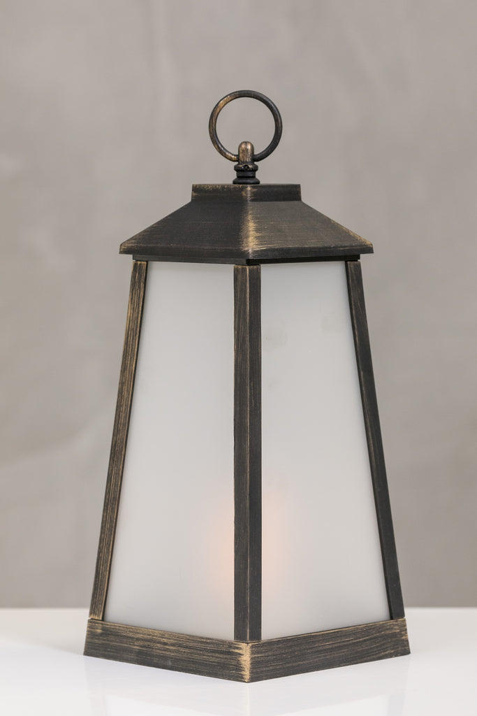 "13""H Nantes Dk. Copper Lantern w/LED Candle - Wanderlust Collection"