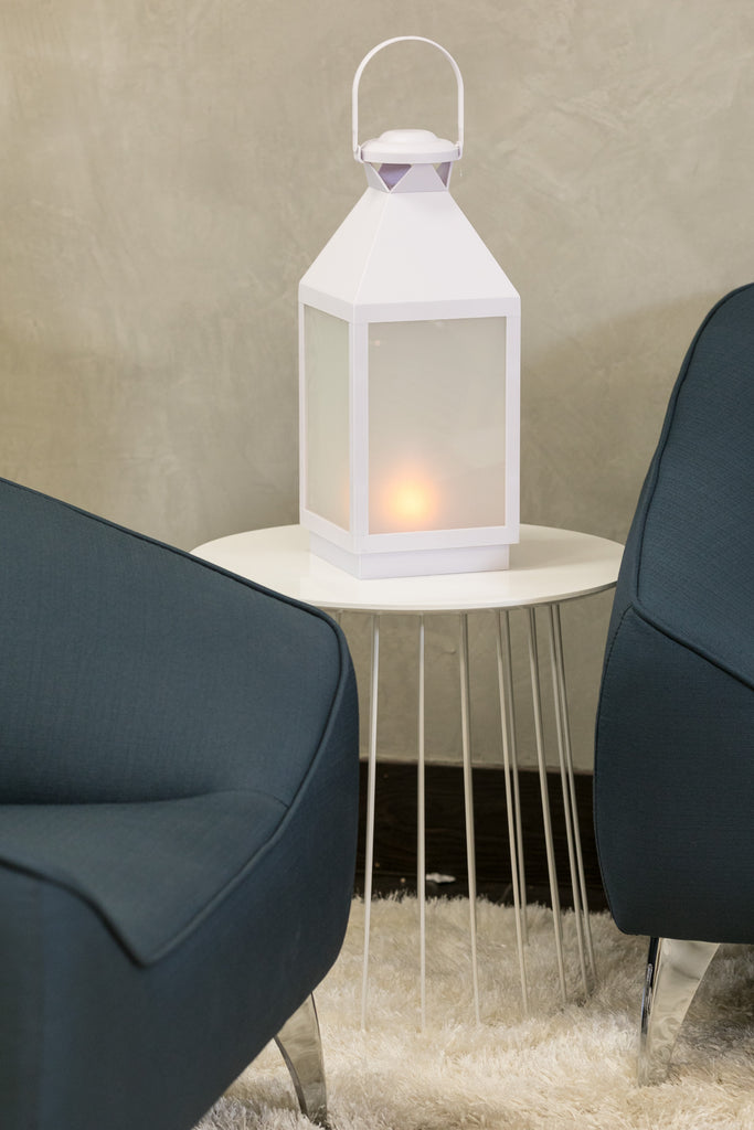 "18""H Tolouse White Lantern w/LED Candle - Wanderlust Collection"