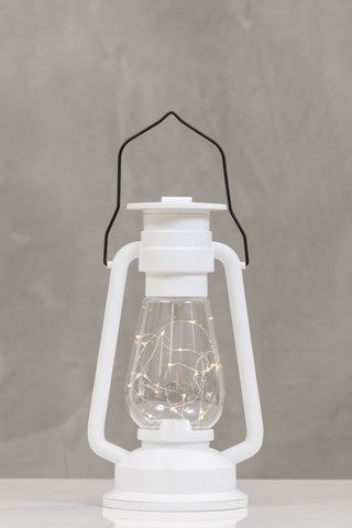 "12""H San Juan White Lantern w/LED String Lights- Wanderlust Collection"