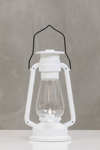"12""H San Juan White Lantern w/LED Candle - Wanderlust Collection"