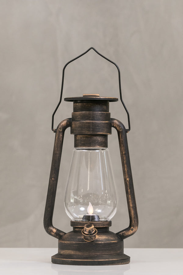 "12""H San Juan Dk. Copper Lantern w/LED Candle - Wanderlust Collection"