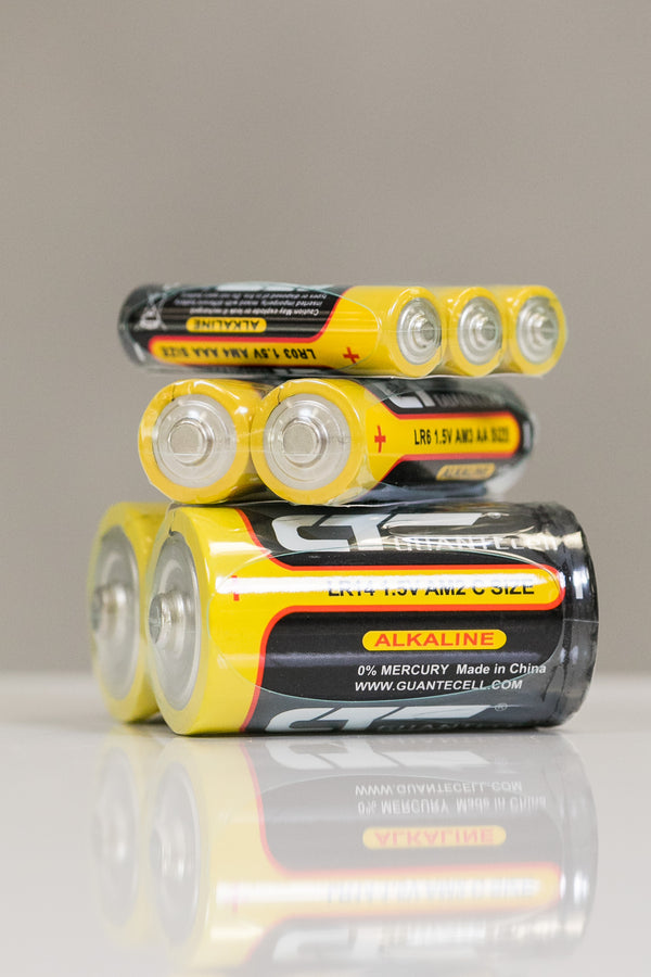 AAA, AA or C Batteries