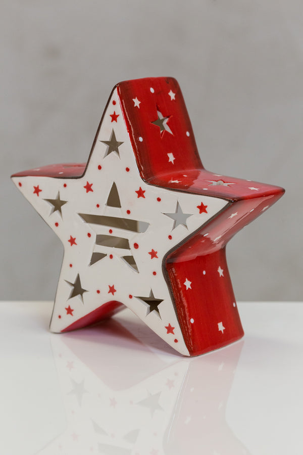 "5.9"" Star Tealight Holder Red/White Stars - Casa Febus - Home • Design"