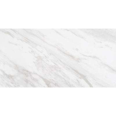 White Marble Polished Finish Tile (2pc Box) - Nouveau Collection