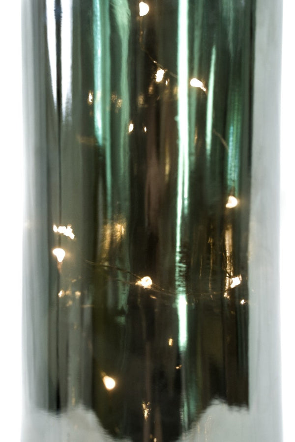 "14"" Mercury Glass Bottle w/ LED & Brass Top - Felicitá Collection"