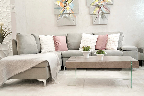 Daniele Sectional Left Side Sofa - Light Gray