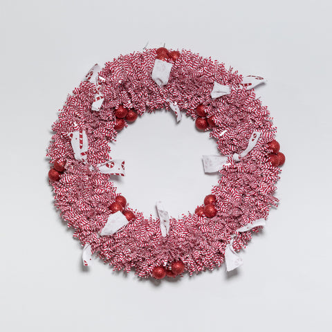 "15"" Red/White Wreath - Peppermint Collection"