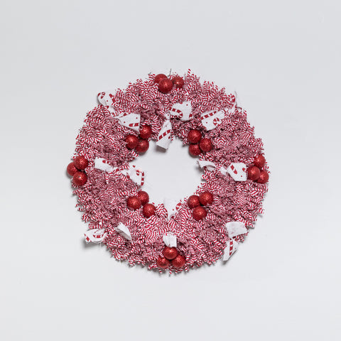 "12"" Red/White Wreath - Peppermint Collection"