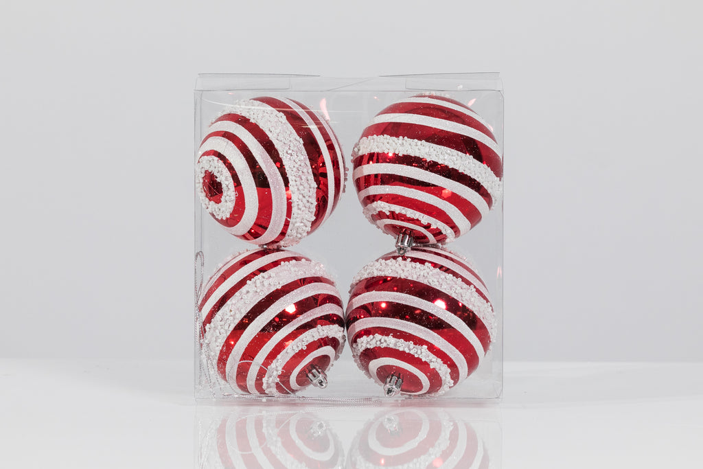 "Set of 4 Swirl Balls 3"" - Red/White"
