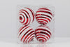 "Set of 4 Swirl Balls 4"" - Red/White"