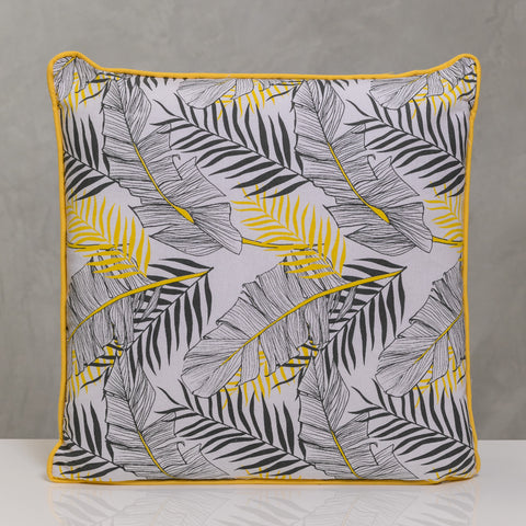 "18""x18"" Naturale Pillow - Yellow/Gray Palms"