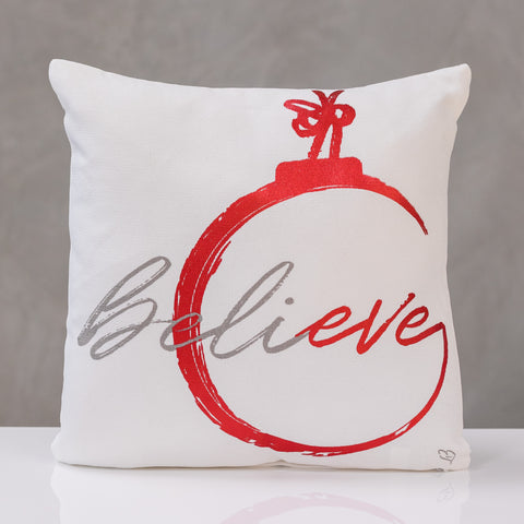 "18""x18"" Believe - Red/Gray Pillow by Liz"