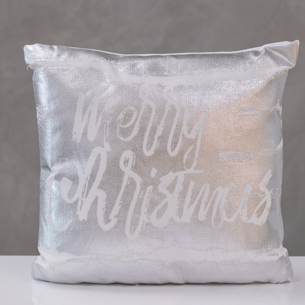 "18""x18"" Merry Christmas - Silver Pillow by Liz"