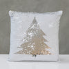 "18""x18"" Reversible Sequin Xmas Tree Pillow - White/Silver"